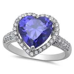 Sterling Silver Tanzanite Heart Ring with Cubic Zirconias Size-6, Simulated -- Learn more by visiting the image link. http://www.amazon.com/gp/product/B01FZ6AKT4/?tag=jewelry3638-20&pza=250916185629