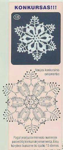 Crochet Patterns Christmas Christmas decorations on Stylowi. Crochet Snowflake Pattern, Crochet Stars, Crochet Snowflakes, Thread Crochet, Crochet Flowers, Crochet Stitches, Crochet Books, Crochet Diagram, Crochet Motif