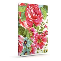 "Heidi Jennings ""Walk Through The Garden"" Pink Flowers Outdoor Canvas Art"