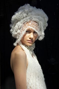 Sculptural Fashion - creative knitwear with soft, sculptural texture detail and 3d construct; interesting headwear // Vika Gorenco