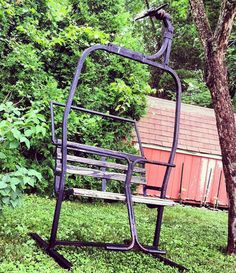 Ski Bench | Vintage Ski Lift Chair Park Bench. Located In New Haven Ct.