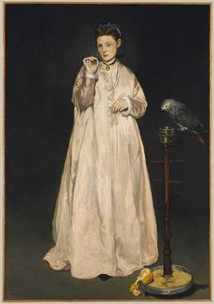 Young Lady in 1866, 1866 Édouard Manet (French, 1832–1883) Oil on canvas; 72 7/8 x 50 5/8 in. (185.1 x 128.6 cm) Signed (lower left): Manet Gift of Erwin Davis, 1889  In the collection of the Metropolitan Museum