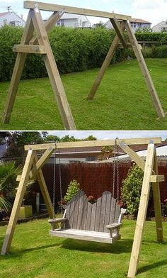 Easy DIY Outdoor Bench How to make a bench swing support frame- Introduction Porch Swing Frame, Garden Swing Seat, Diy Swing, Wood Swing, Outdoor Bench Swing, Wooden Swing Frame, Backyard Swings, Backyard Playground, Porch Swings
