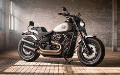 Download wallpapers Harley-Davidson, Fat Bob, 2018, luxury motorcycle, USA, new motorcycles, 4k