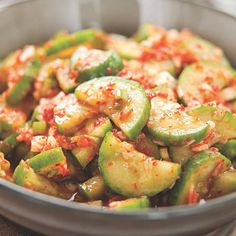 (Sub tamari for fish sauce and 5 drops stevia for sugar) Quick Cucumber Kimchi makes a great side dish with fish and brown rice.