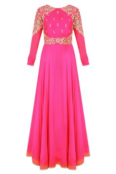 Magenta embroidered anarkali set with red contrast embellished dupatta available only at Pernia's Pop Up Shop.