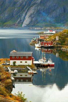 Photograph Norway - Sund by Fabrizio Fenoglio on Sund is a small village in the Lofoten islands. Beautiful World, Beautiful Places, Beautiful Norway, The Places Youll Go, Places To Visit, Lofoten Islands Norway, Red Houses, Norway Travel, All Nature