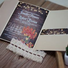 classic fall maple leave rustic string light pocket wedding invitations EWPI186 as low as $2.09 |