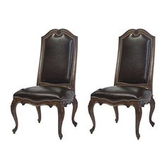 Belle Meade Wenge Leyland Leather Side Chairs Pair Dining Chair Sets ($1,449) via Polyvore