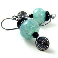 Aqua Dragon Vein Agate and Black Onyx Earrings Sterling Silver | NightSkyJewelry - Jewelry on ArtFire