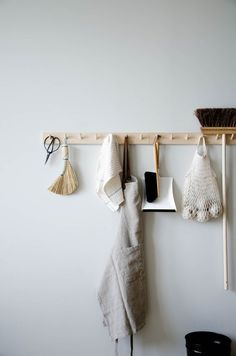 A peg rail is practical for your kitchen or utility room and also gives a Scandinavian aesthetic to your home