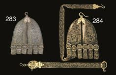 Christies 9436, Lot 283, Rapier carrier early 17th Century. Of two broad pieces of leather embroidered on the front with silver thread, with loops along the bottom edge, each with iron buckle, iron top hook, the iron parts with punched decoration and traces of gilding; The first 24.1cm. Lot 284 Rapier carrier Of leather covered with black silk embroidered with flowers and running scrollwork in yellow thread, the mounts of gilt iron The carrier 26.6cm.