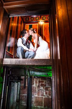 Love in an elevator @thethaxtonstl by @miragephotostl #wedding #kiss
