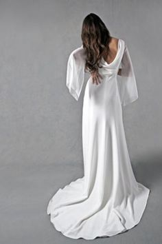 Long Empire V-Neck Gown for Brides