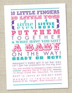 Girl Baby Shower Invitation - words, pink teal blue purple Invitations (Printable Digital File OR Printed Cards). $14.00, via Etsy.