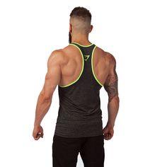GymShark Fit Stringer - Grey Marl/Neon Stringer vests   GymShark International   Innovation In Fitness Wear