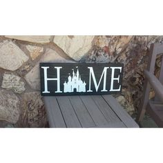 Home Sign, Disney Sign, Home Decor, Handmade Wooden Sign, Rustic Decor ($30) ❤ liked on Polyvore featuring home, home decor, wall art, wood wall art, hand made signs, hand made wooden signs, rustic wood wall art and rustic wall art