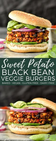 Baked Sweet Potato Black Bean Veggie Burgers are vegan, gluten-free and freezer-friendly! The perfect make-ahead meatless main dish! #veggieburger #vegan #glutenfree #dairyfree #baked #maindish via @joyfoodsunshine