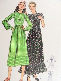 1960s Romantic Bohemian High Waist Midi Maxi Dress Pattern Butterick 6194 Prairie Boho Peasant Styles Vintage Sewing Pattern FACTORY FOLDED