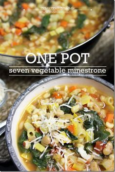Seven Vegetable Minestrone .  I added some pork stew meat, deglazed pan with red wine, used kale instead of spinach, used canned diced tomatoes instead of Roma.