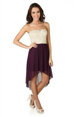 Deb Shops Chiffon Strapless High Low Dress with Lace Bodice $24.15