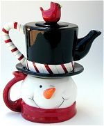 Christmas Snowman tea for one stacking teaset (teapot and mug) ... smiling winking snowman's head as mug and his black tophat as teapot, with red cardinal bird as knob and candycane handle, ceramic
