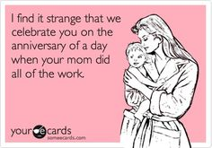 Funny Birthday Ecard. Since I have had kids, I have started thanking my mom on my birthday.