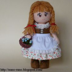 Doll with basket- simple felt doll tutorial everything pictured including a cute little red hood!