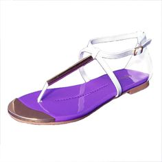 Qupid Women's Gravity01 Patent Metallic T-Strap Flat Sandal >>> You can find out more details at the link of the image.