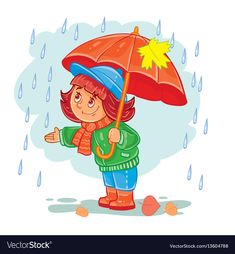 Buy Vector Icon of Small Girl with an Umbrella by vectorpocket on GraphicRiver. Vector icon of small child in autumn clothes with an umbrella standing in the rain. Design element, print for T-shirts Cartoon Pics, Cartoon Drawings, Drawing For Kids, Art For Kids, Weather For Kids, Standing In The Rain, Kids Vector, Vector Game, Dog Coloring Page