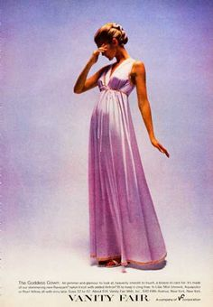 'Goddess Gown' negligee by Vanity Fair, Gala Dresses, Evening Dresses, 1960s Fashion, Vintage Fashion, Vanity Fair Lingerie, Vintage Outfits, 70s Mode, Vintage Lingerie, Night Gown