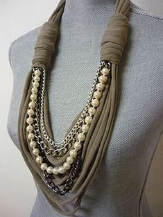 Scarf Necklace, Fabric Necklace, Scarf Jewelry, Fabric Jewelry, Diy Necklace, Diy Jewelry, Vintage Jewelry, Jewelry Making, Necklace Chain