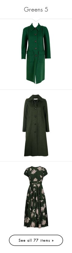 """Greens 5"" by middletondonna ❤ liked on Polyvore featuring outerwear, coats, black, long sleeve coat, a line wool coat, long oversized coat, oversized coat, a-line coat, green and veronique branquinho"
