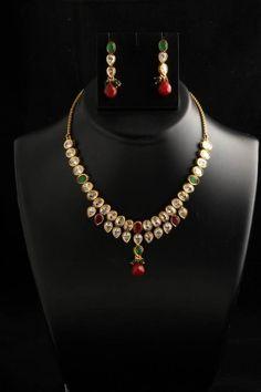 Kundan Indian Bollywood Handcrafted Polka Fashion Designer Necklace Earring Set