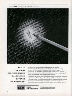 Advertisement for the IBM 608 from 1955. 57 years later, large computing boxes are still being sold with similar sounding messages.