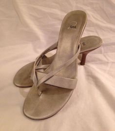 1ed2a51ba3b1c MIA 2 Silver Stilettos Strappy Flip Flop Sandals Heels Shoes Sz 7.5 EUC!   MIA