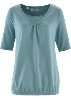 Halbarm-Shirt mit Spitze, bpc bonprix collection, mineralblau