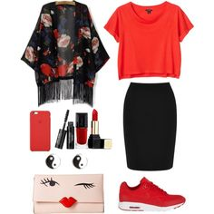 A fashion look from March 2015 featuring Monki t-shirts, Warehouse mini skirts and NIKE sneakers. Browse and shop related looks.