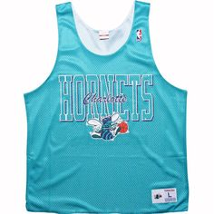 Mitchell and Ness Charlotte Hornets Reversible Mesh Tank Top in teal and white