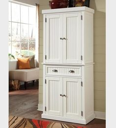 Nantucket Kitchen Storage Pantry Cabinet In A Distressed Finish - Plow & Hearth