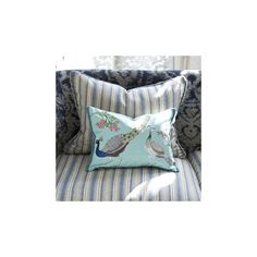 Royal Collection Peacock Flower Celadon Pillow design by Designers... ($130) ❤ liked on Polyvore