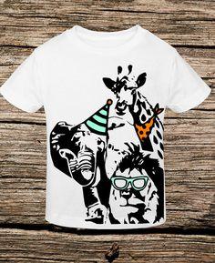 Birthday Zoo Shirt giraffe elephant lion party by GlimpseOfGrey