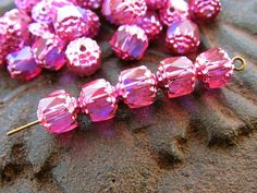 8mm Iridescent AB Hot Pink Cathedral Czech Glass Fire Polished Beads - 20 by alyssabethsvintage on Etsy