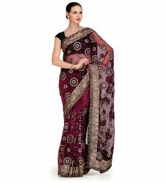 Wine Tissue Saree with Velvet and Swarovski Work | Fabroop