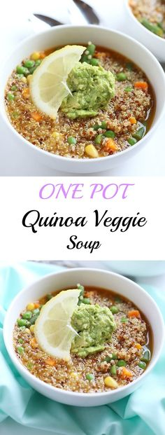One Pot Quinoa Veggie Soup! EASY to make, takes about 30 minutes or less and great for lunch or dinner! Slightly spicy and completely filling! Vegan and GF! / TwoRaspberries.com