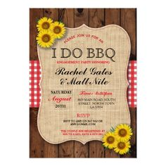 I DO BBQ Couples Showers Rustic Sunflower Invite
