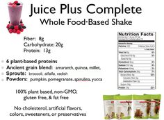 Juice Plus+ Complete Protein Powder....add 2 a day through shakes or smoothies for 28 days. Yummm!!!