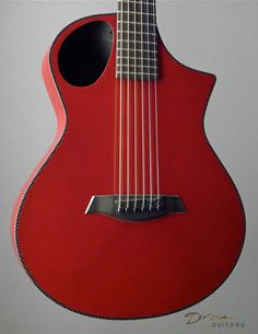 New Composite Acoustics Cargo HG Red With Electronics - Travel Guitar Acoustic Guitar - Carbon Fiber Top