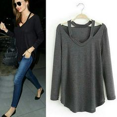 COMING SOON! DARK GRAY CUTOUT LONG SLEEVE Cutout in the shoulder area. Wear with leggings or skinny jeans Tops