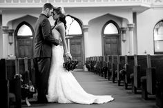 Wedding photo with my wooden pews